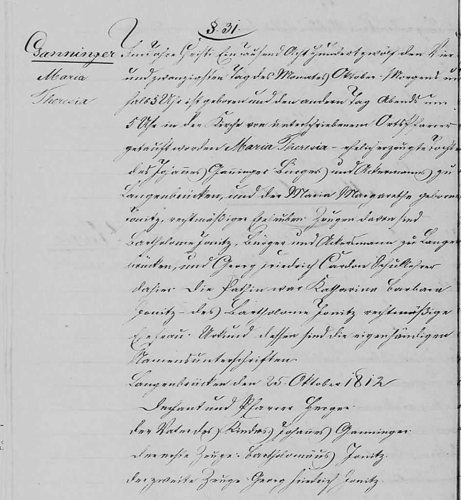1812 - Geburt Ganninger, Maria Theresia
