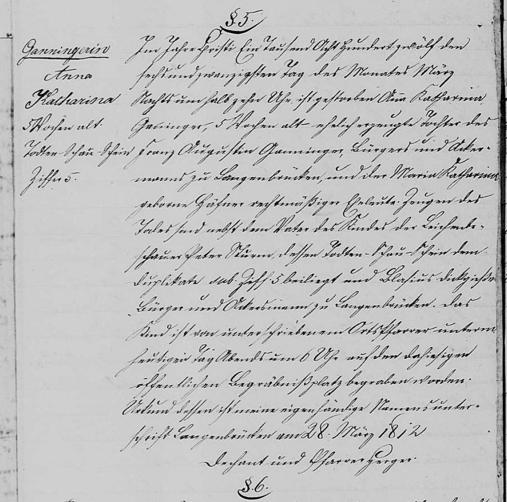 1812 - Tod Ganninger, Anna Katharina