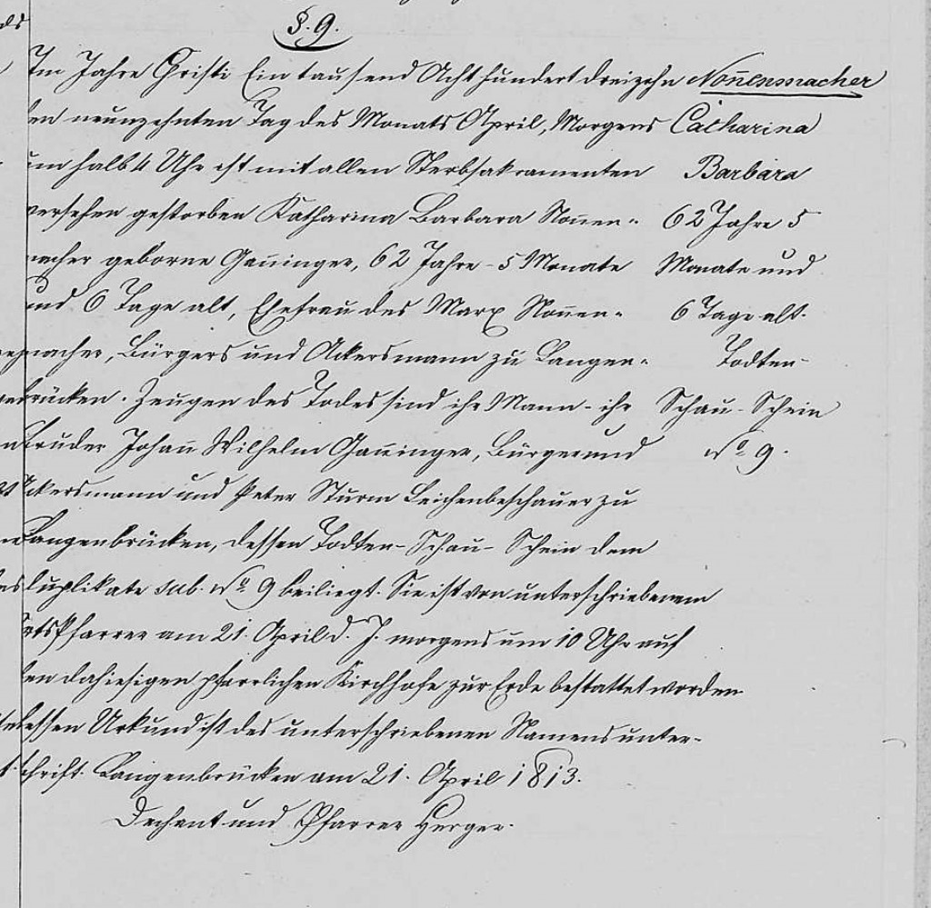 1813 - Tod Ganninger, Catharina Barbara ver Nonnenmacher