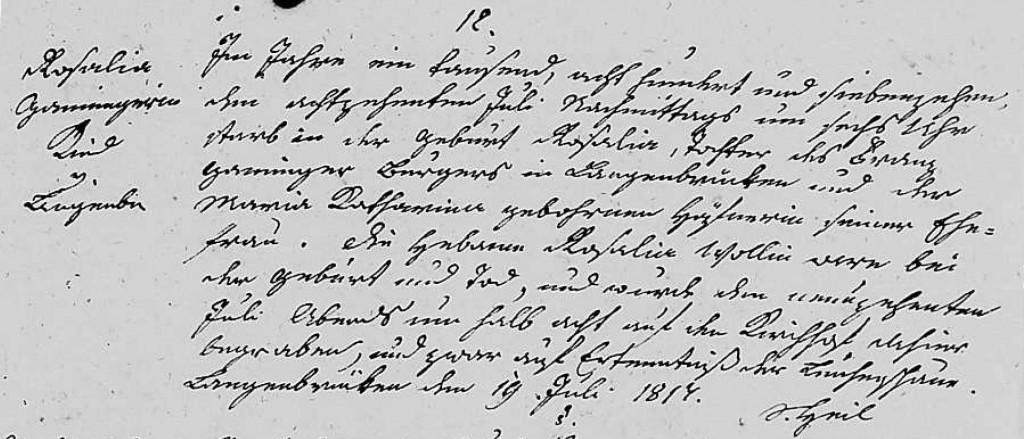 1817 - Tod Ganninger, Rosalia