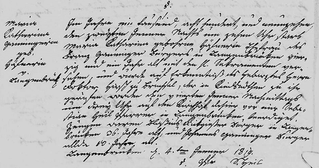 1819 - Tod Ganninger, Maria Katharina geb Haefner