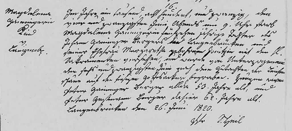 1820 - Tod Ganninger, Magdalena