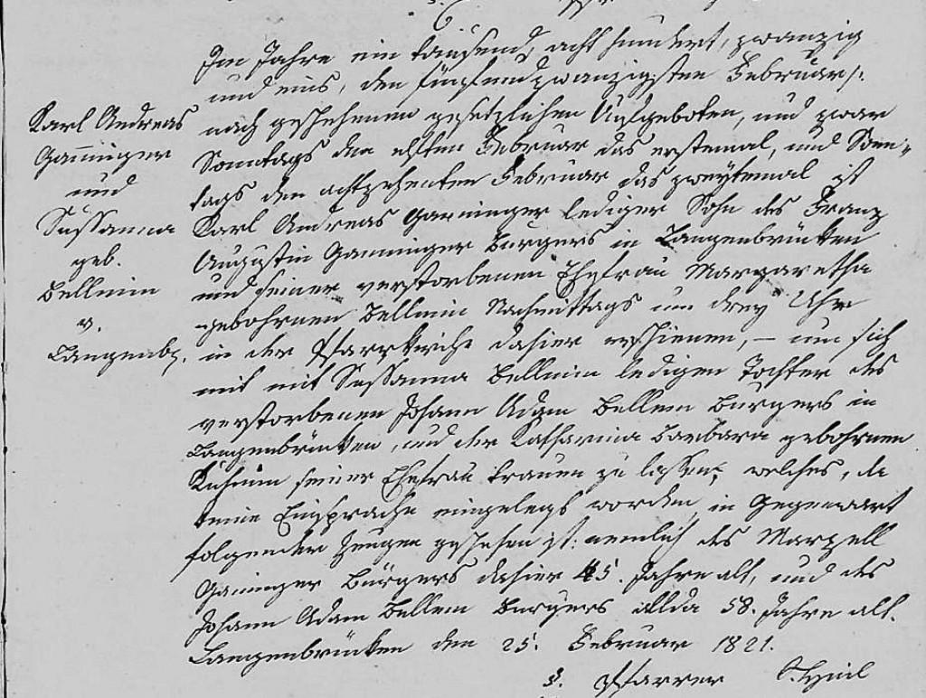 1821 - Ehe Ganninger, Karl Andreas