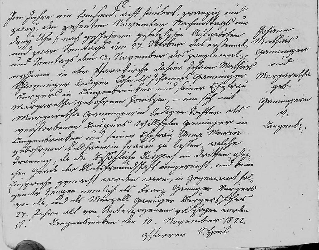 1822 - Ehe Ganninger, Johannes Mathias