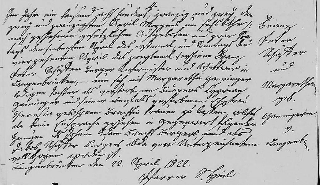 1822 - Ehe Ganninger, Margaretha