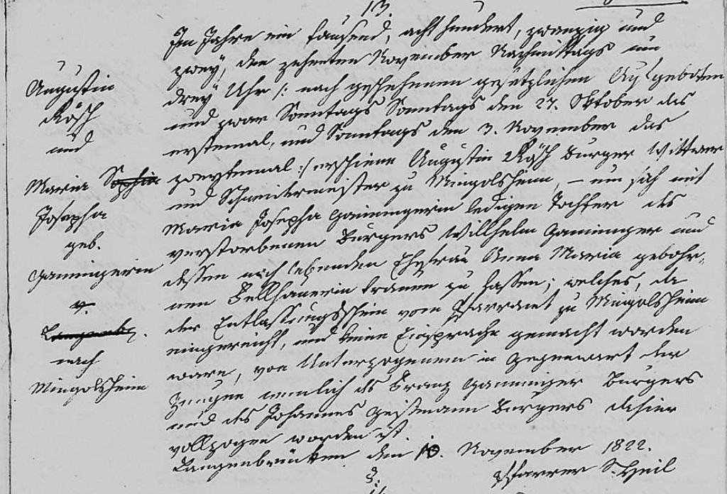 1822 - Ehe Ganninger, Maria Josepha