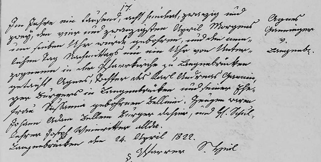1822 - Geburt Ganninger, Agnes