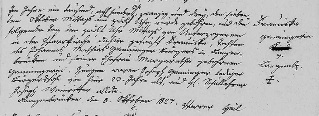 1823 - Geburt Ganninger, Franziska
