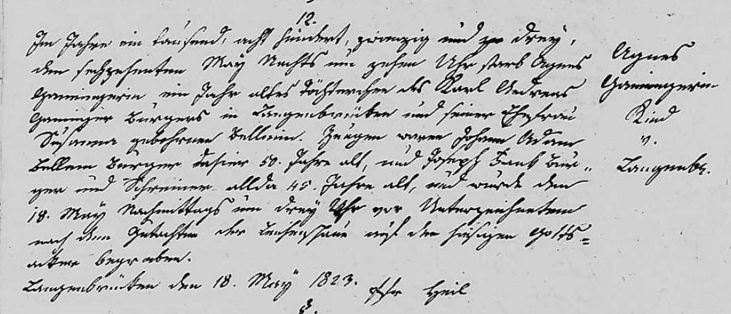 1823 - Tod Ganninger, Agnes