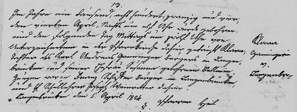 1824 - Geburt Ganninger, Klara