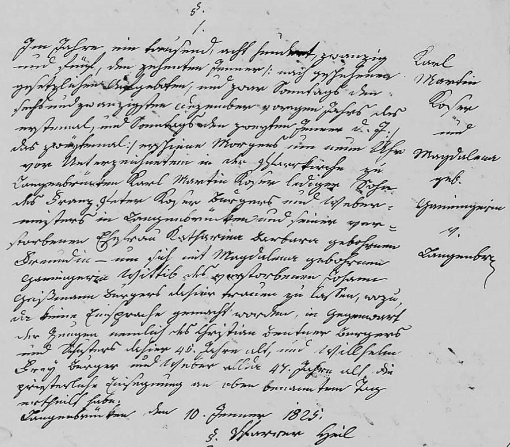 1825 - Ehe Ganninger, Magdalena