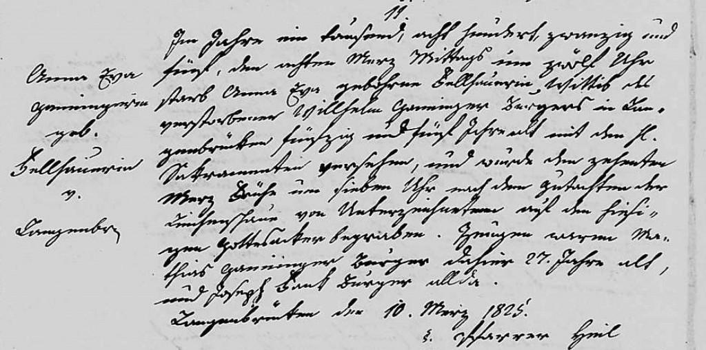 1825 - Tod Ganninger, Anna Eva geb Fellhauer