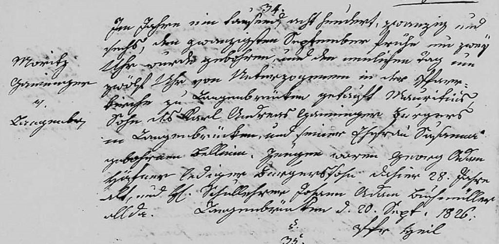 1826 - Geburt Ganninger, Moritz