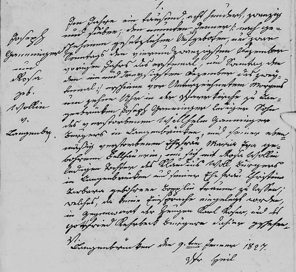 1827 - Ehe Ganninger, Joseph