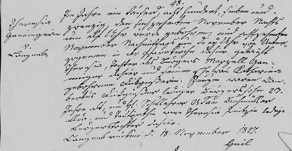 1827 - Geburt Ganninger, Theresia