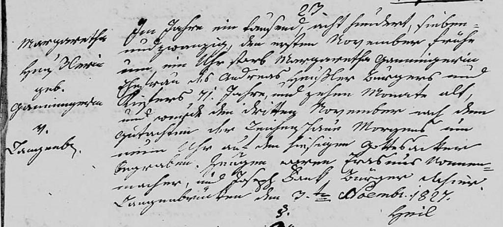 1827 - Tod Ganninger, Margaretha