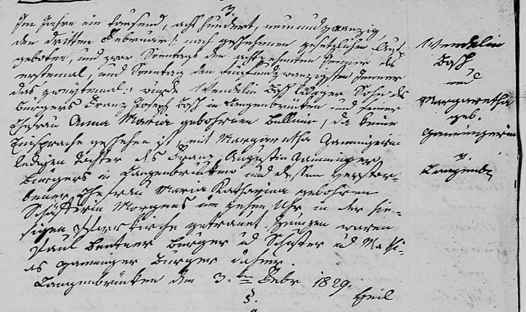 1829 - Ehe Ganninger, Margaretha