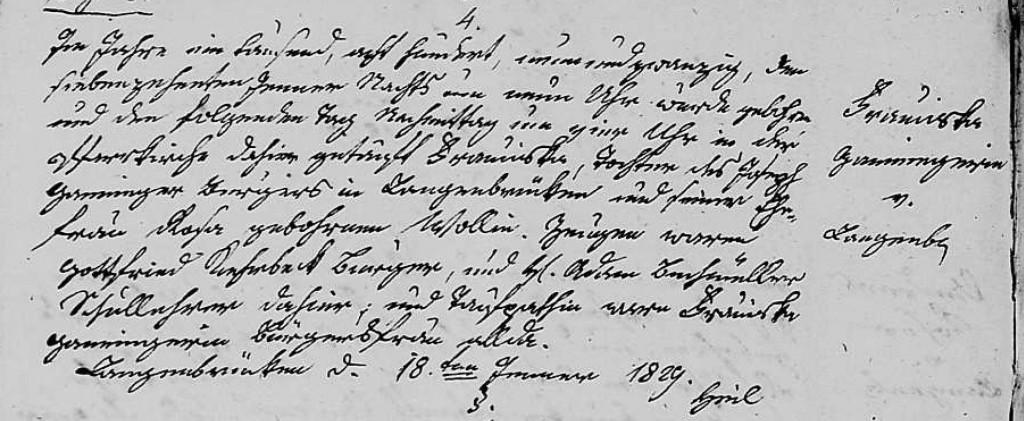 1829- Geburt Ganninger, Franziska