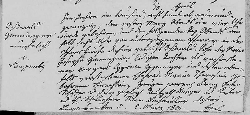 1829 - Geburt Ganninger, Osswald