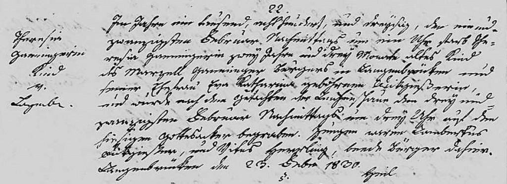 1830 - Tod Ganninger, Theresia