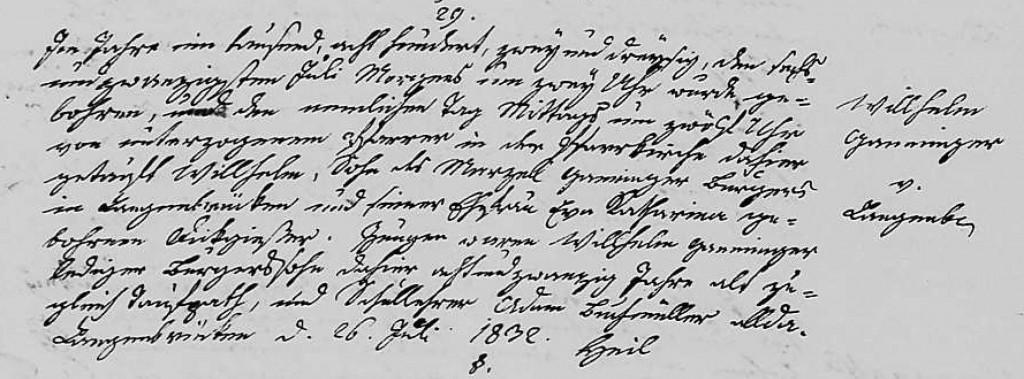 1832 - Geburt Ganninger, Wilhelm