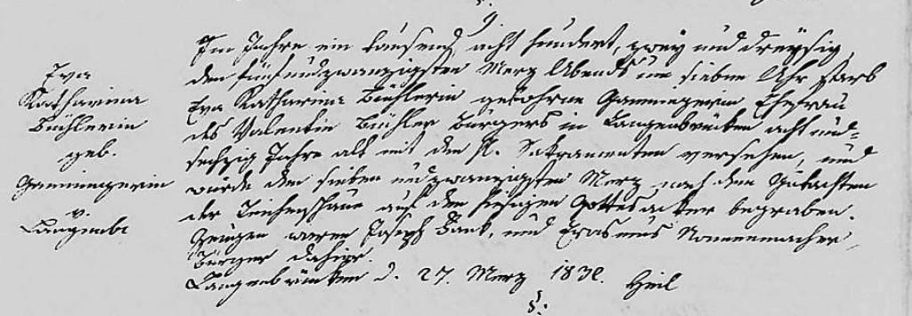 1832 - Tod Ganninger, Eva Katharina ver Buechler
