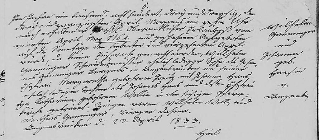 1833 - Ehe Ganninger, Wilhelm