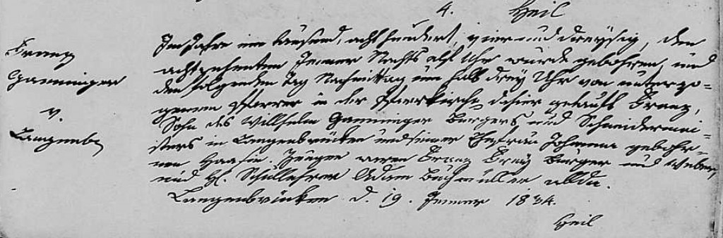 1834 - Geburt Ganninger, Franz