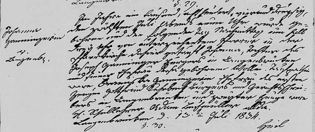 1834 - Geburt Ganninger, Johanna