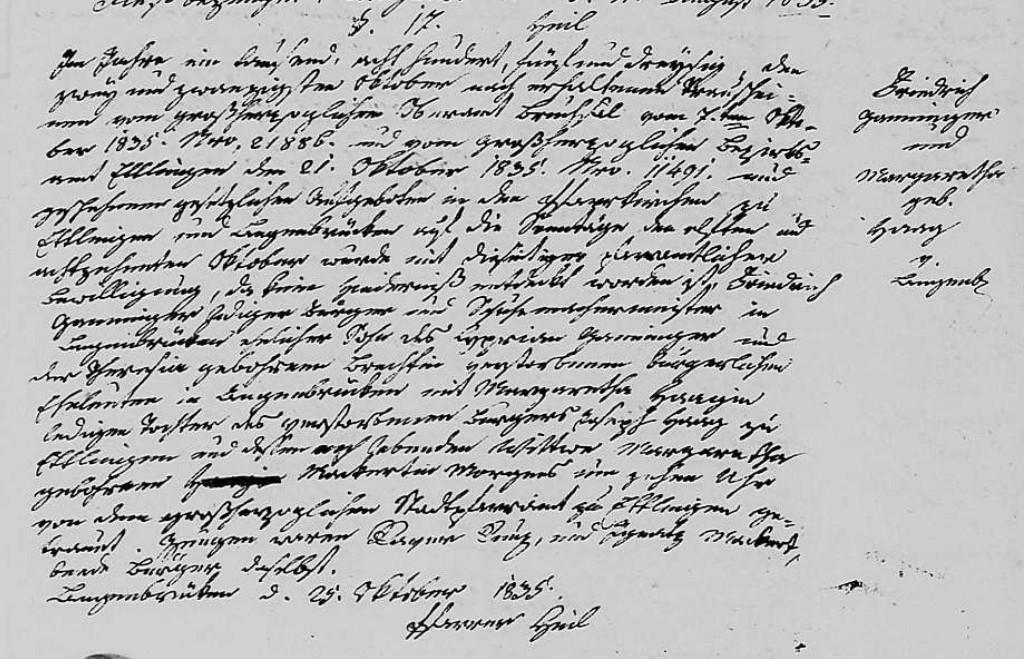 1835 - Ehe Ganninger, Friedrich