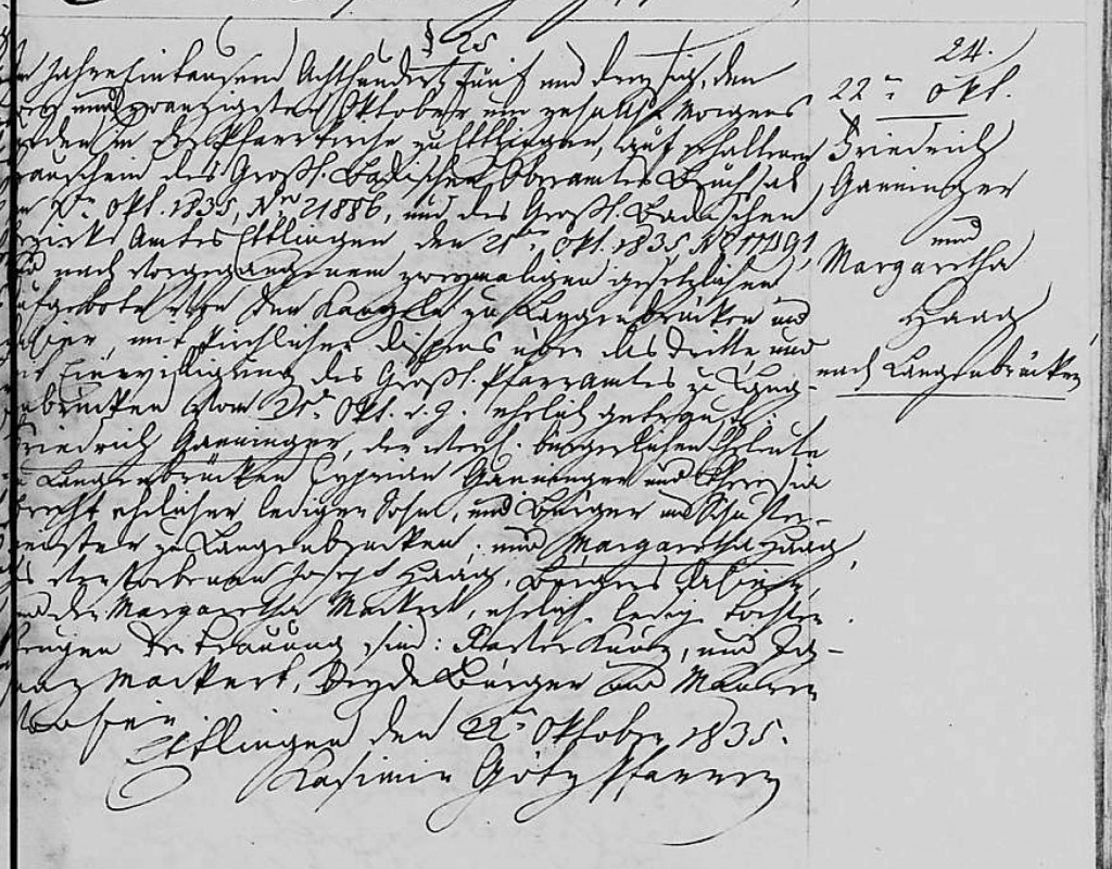 1835 - Ehe Ganninger, Friedrich in Ettlingen