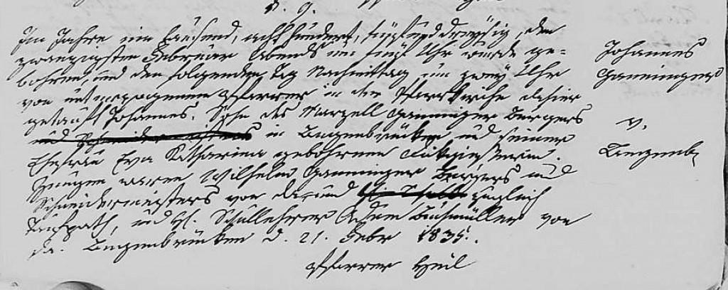 1835 - Geburt Ganninger, Johannes