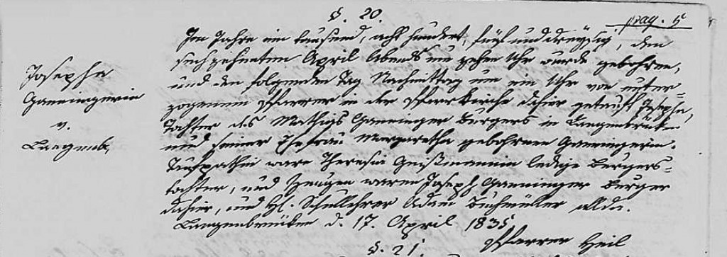 1835 - Geburt Ganninger, Josepha