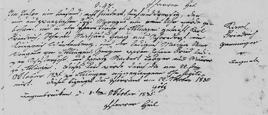 1835 - Geburt Haag-Ganninger, Karl Friedrich Langenbruecken