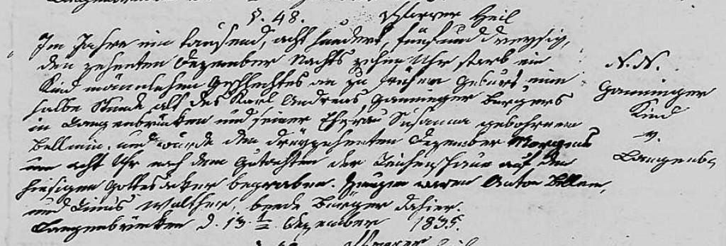 1835 - Tod Ganninger, ungetauftes Kind