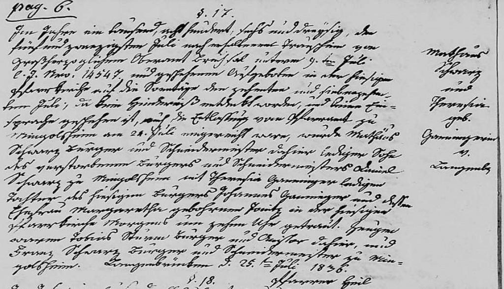 1836 - Ehe Ganninger, Theresia