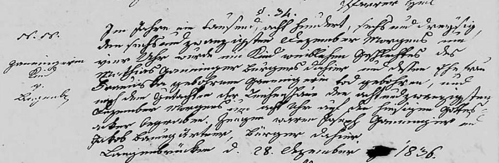 1836 - Tod Ganninger, ungetaufte Tochter