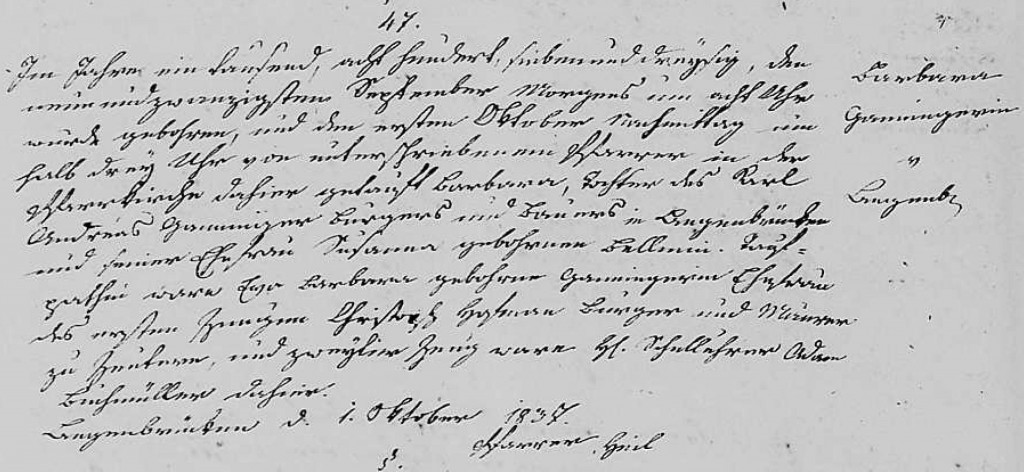 1837 - Geburt Ganninger, Barbara