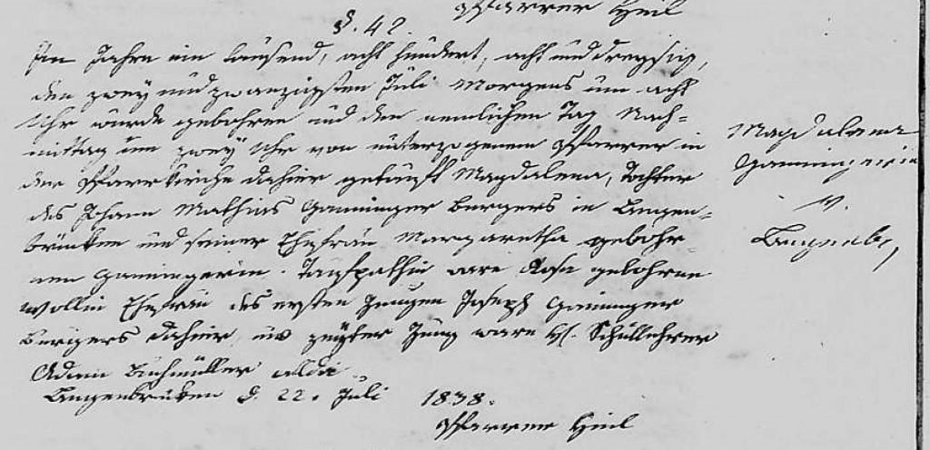 1838 - Geburt Ganninger, Magdalena