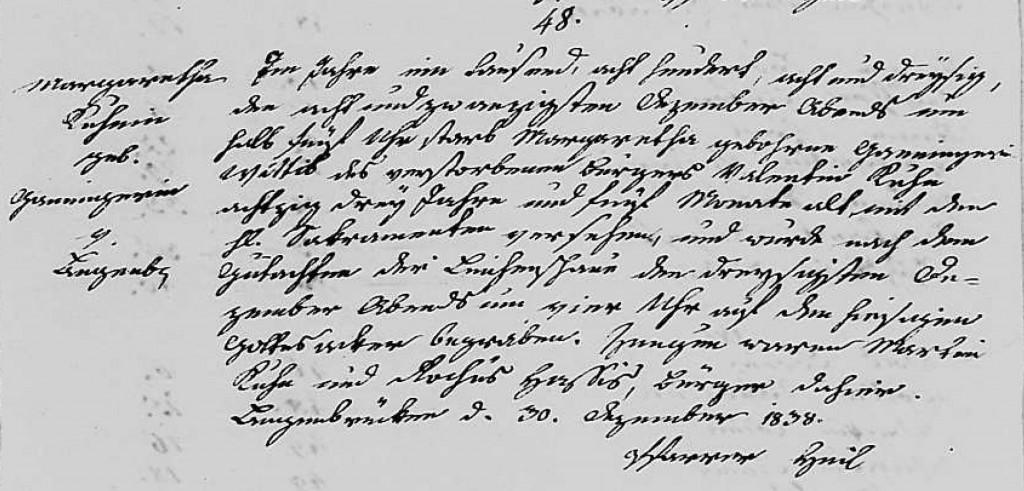 1838 - Tod Ganninger, Margaretha ver Kuhn