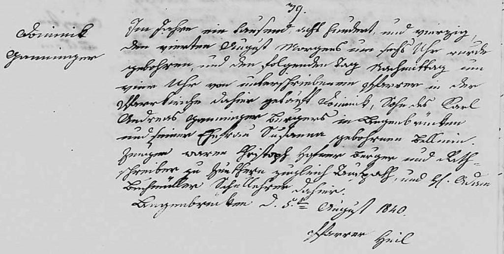 1840 - Geburt Ganninger, Dominik