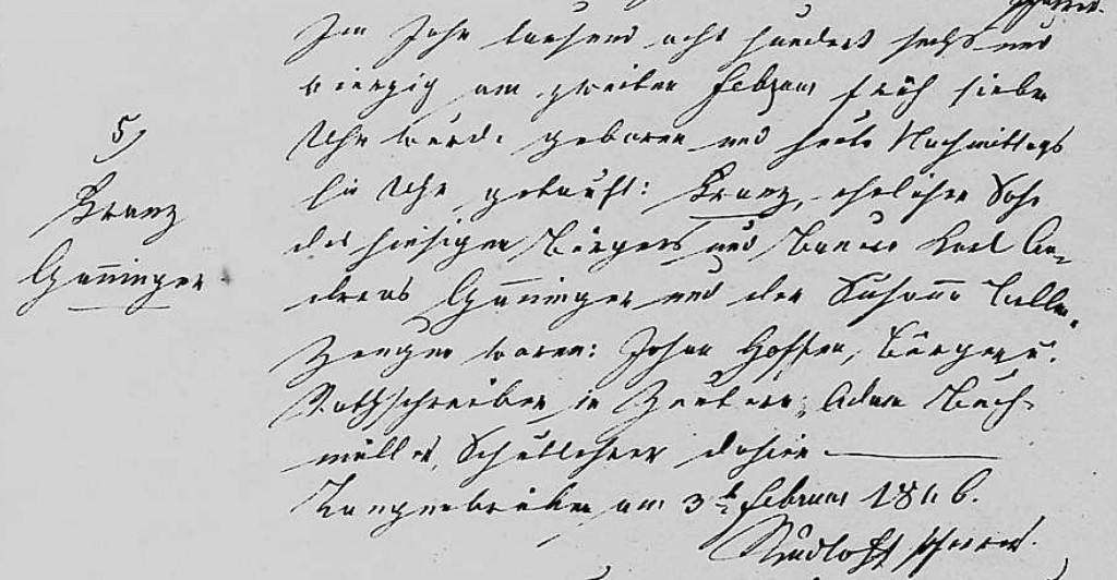 1846 - Geburt Ganninger, Franz