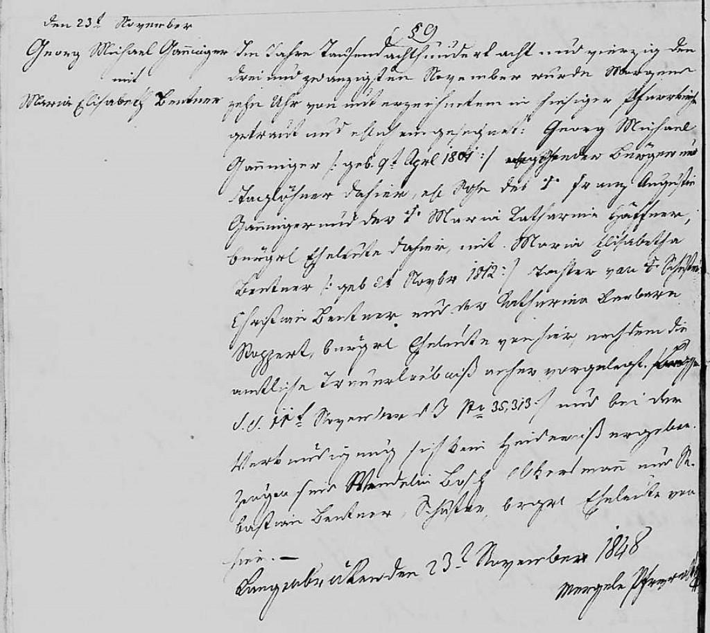 1848 - Ehe Ganninger, Georg Michael