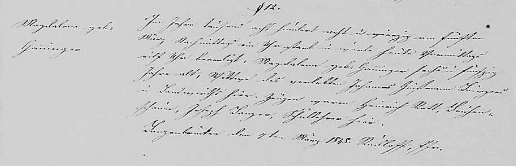 1848 -Tod Ganninger, Magdalena ver Geissmann