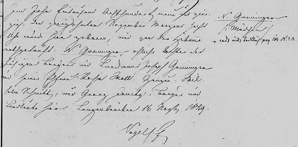 1849 - Geburt Ganninger, Tochter von Joseph