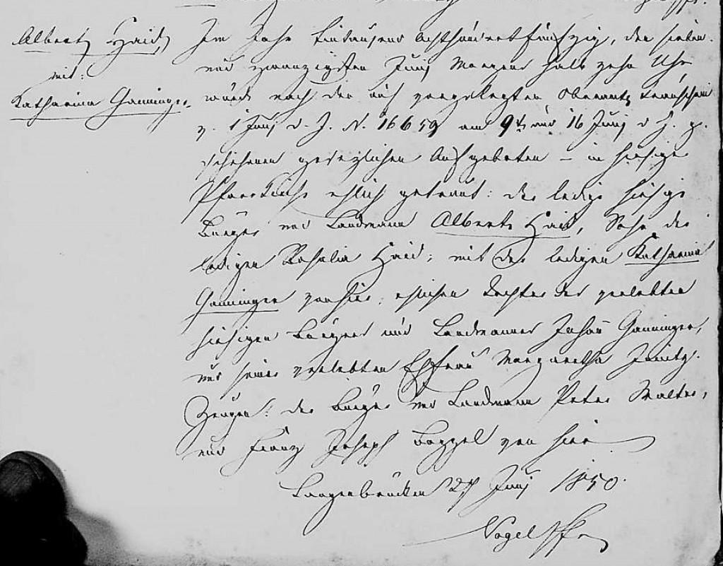 1850 - Ehe Ganninger, Katharina