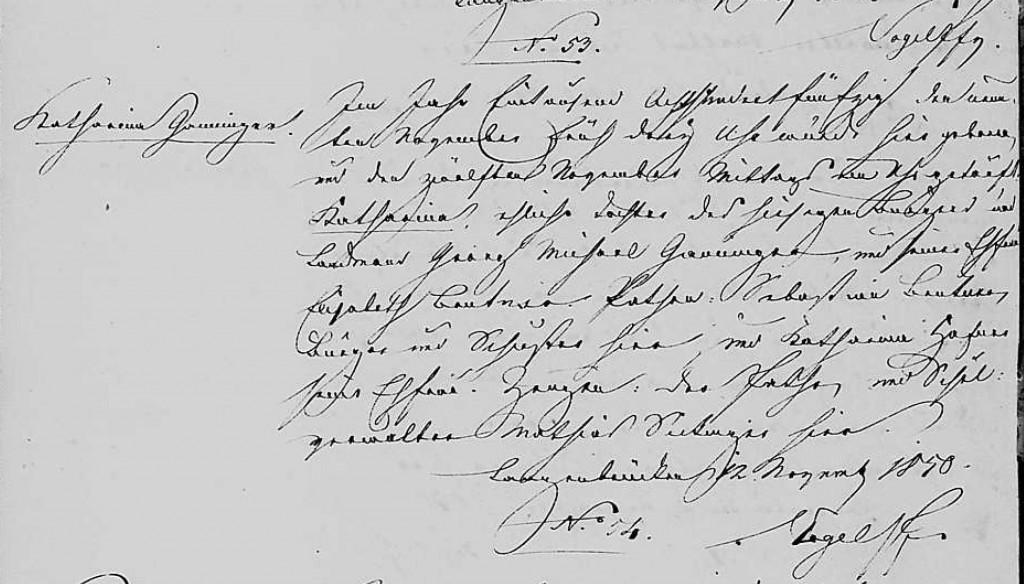 1850 - Geburt Ganninger, Katharina