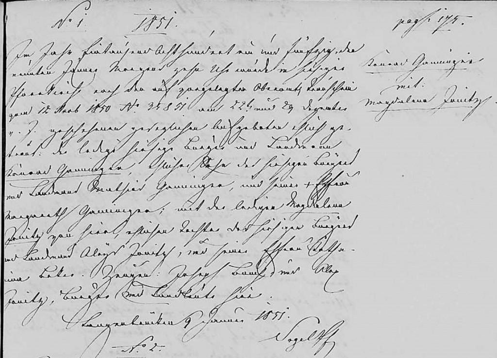 1851 - Ehe Ganninger, Konrad