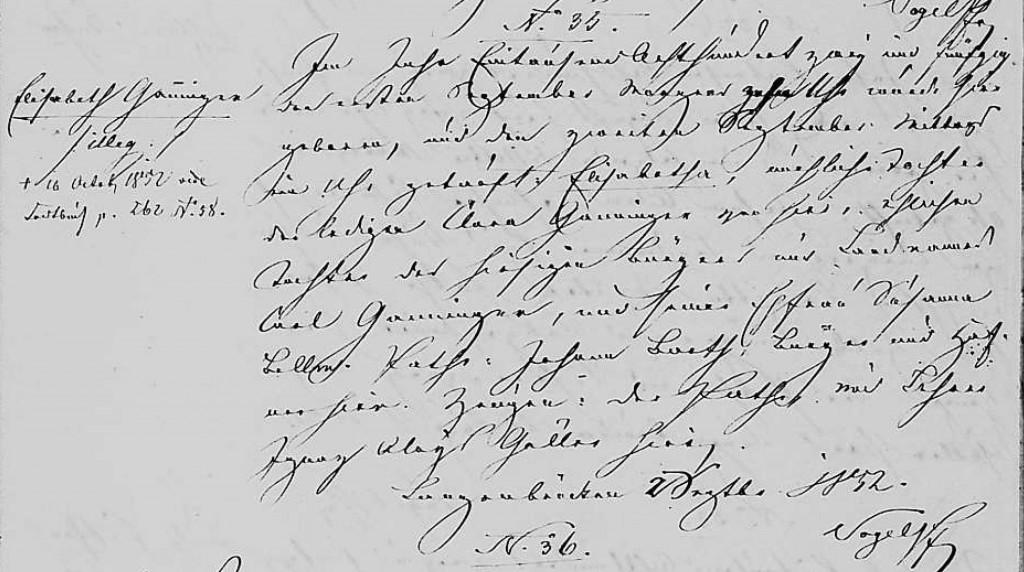 1852 - Geburt Ganninger, Elisabeth