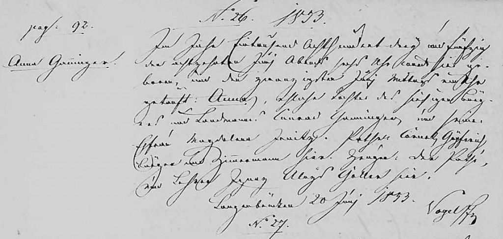 1853 - Geburt Ganninger, Anna